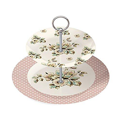 Katie Alice Cottage Flower Cream Fine China Two Tier Cake Plate