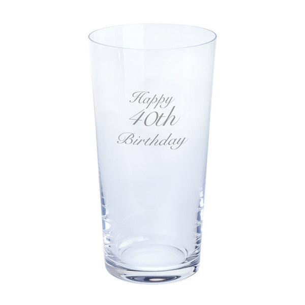 Dartington Crystal Just For You Happy 40th Birthday Pint Glass 0.55L (Single)