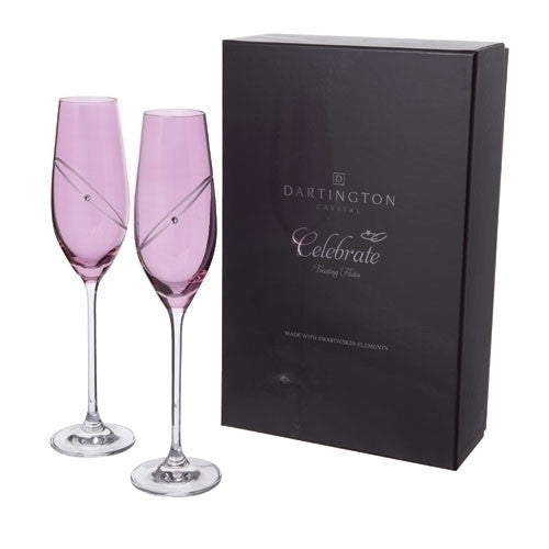 Dartington Crystal Celebration Ruby Champagne Flutes Pair 210ml
