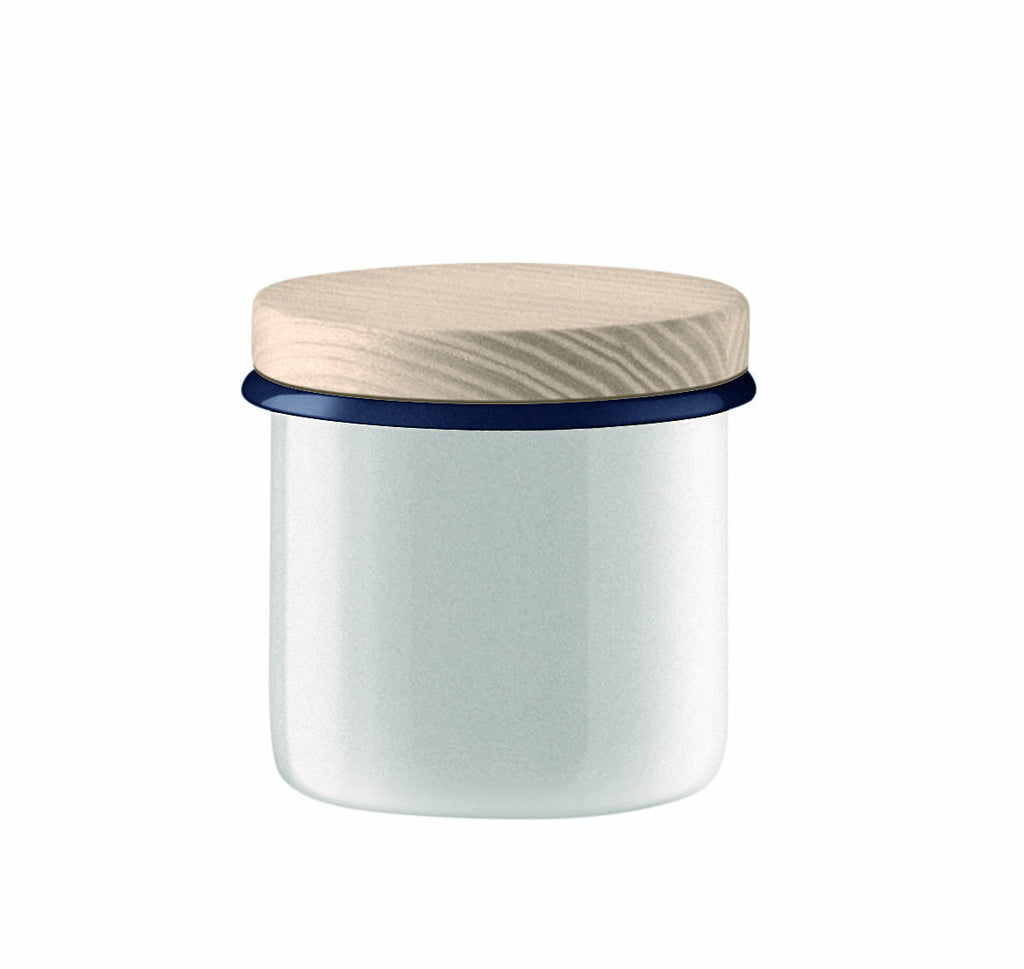 LSA Utility Milk White Storage Jar with Ash Lid 9cm