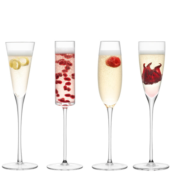 LSA Lulu Assorted Champagne Flute 0.16L (Set of 4)