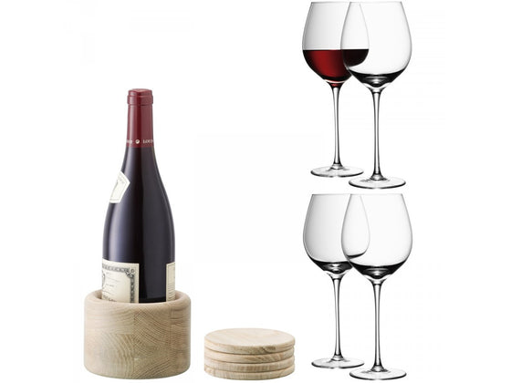 LSA Red Wine Glass with Oak Coasters 0.75L (Set of 4)