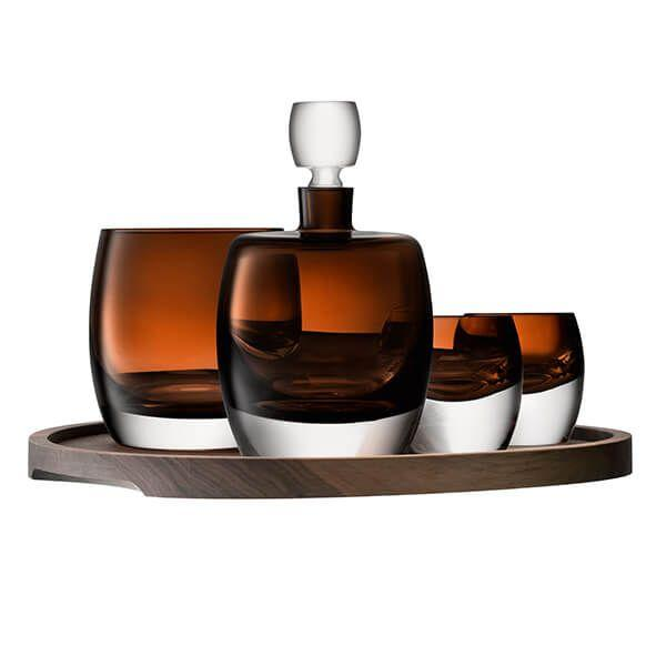 LSA Whisky Club Peat Brown Connoisseur Set and Walnut/Cork Serving Tray