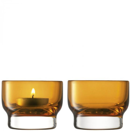 LSA Utility Amber Tealight Holder 6cm (Set of 2)