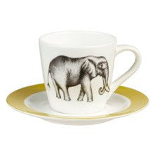 Churchill China Harlequin Savanna Elephant Espresso Cup And Saucer (Set of 4)