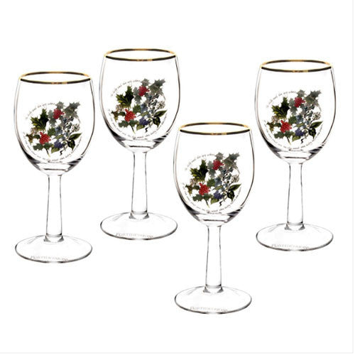 Portmeirion Holly and Ivy Wine Glass 0.36L (Set of 4)