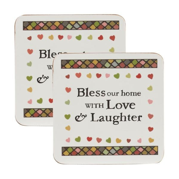 Churchill China Julie Dodsworth Bless Our Home Set of 4 Coasters 10cm