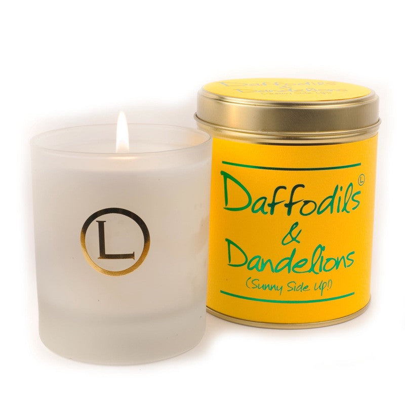 Lily Flame Daffodils and Dandelions Glassware Candle