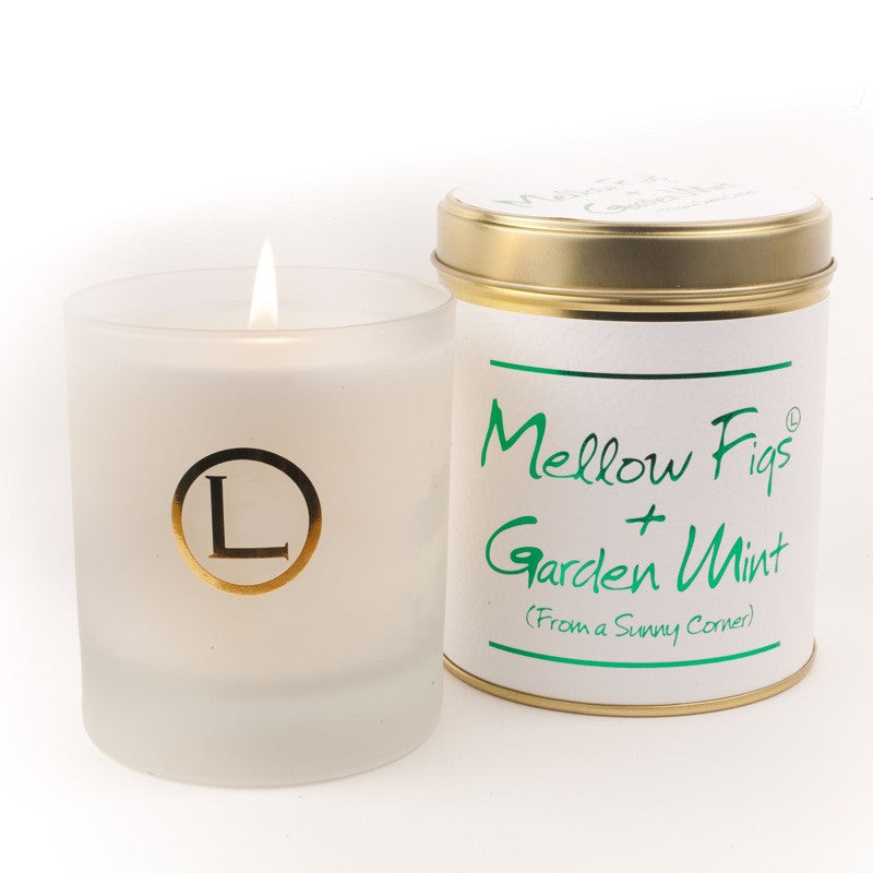 Lily Flame Mellow Figs and Garden Mint Glassware Candle