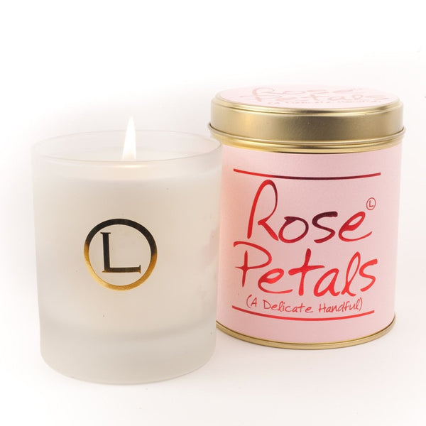 Lily Flame Rose Petals Glassware Candle