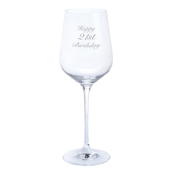 Dartington Crystal Just For You Happy 21st Birthday Wine Glass 0.45L (Single)
