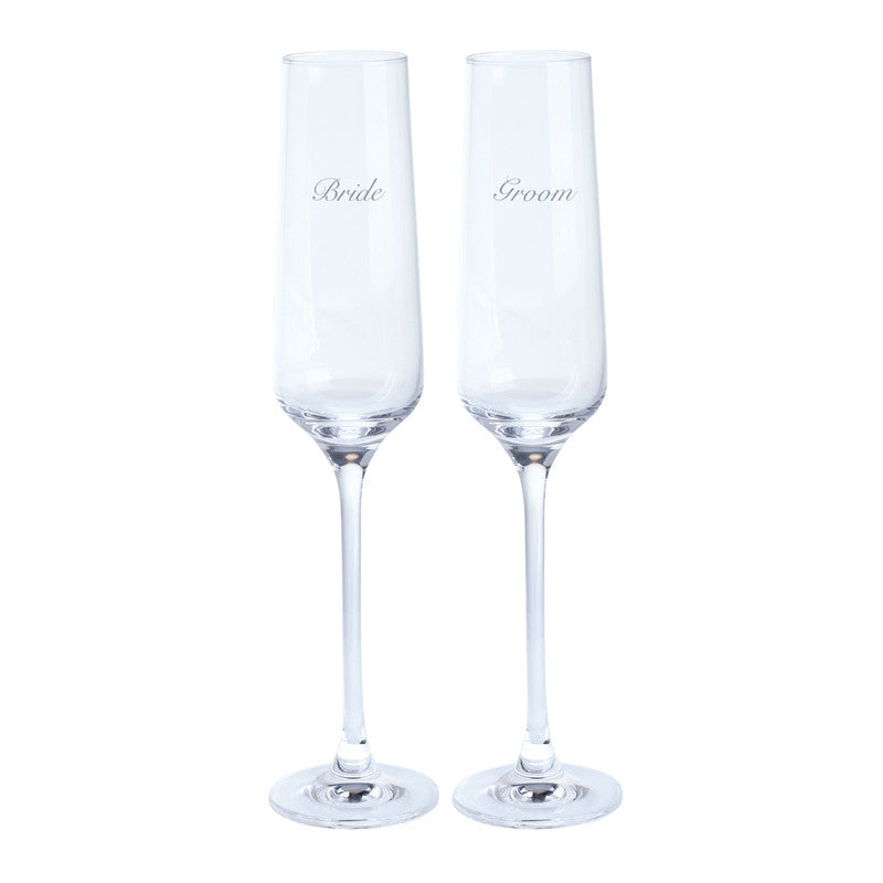 Dartington Crystal Just For You Bride and Groom Champagne Flute 0.19L (Pair)