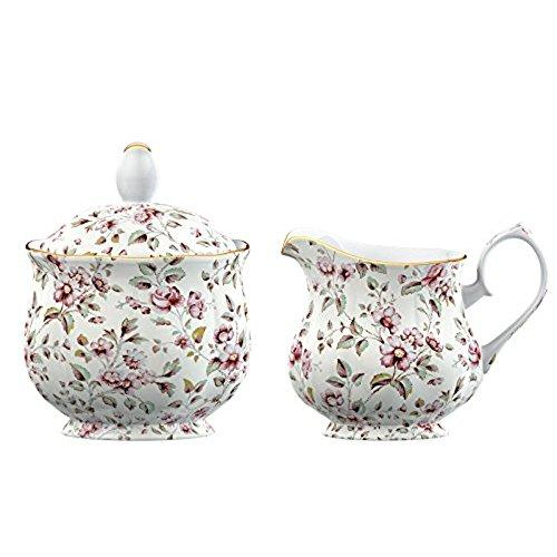 Katie Alice Ditsy Floral Fine Bone China White Sugar Bowl and Creamer