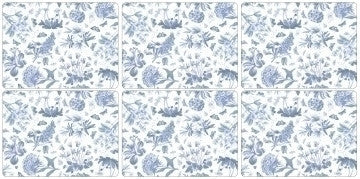 Portmeirion Botanic Blue 6 Placemats 30.5cm by 23cm