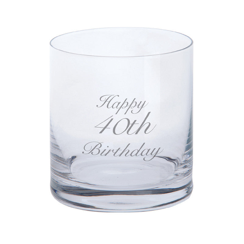 Dartington Crystal Just For You Happy 40th Birthday Tumbler 0.28L (Single)