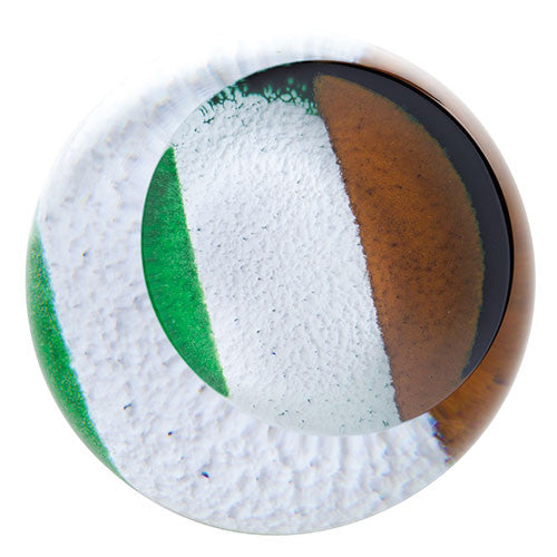 Caithness Glass Abstract Irish Tricolour Flag Paperweight