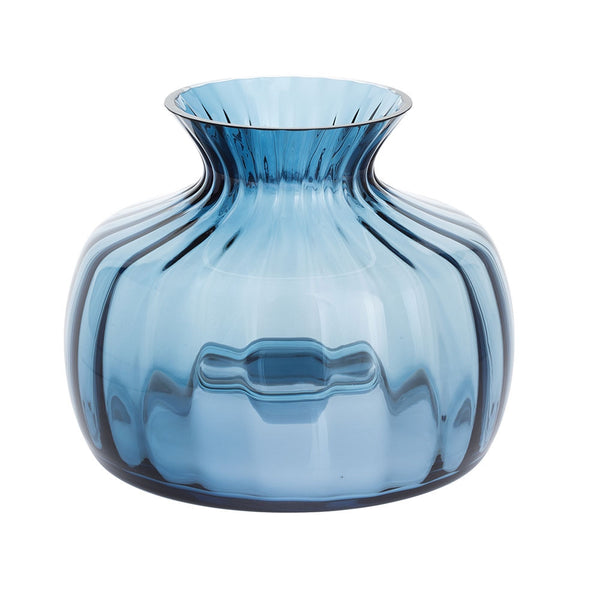 Dartington Crystal Cushion Vases Medium Ink Blue Vase