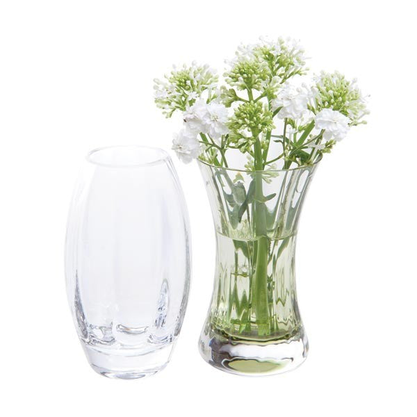 Dartington Crystal Adam and Eve Clear and Olive Green Vase (Pair)