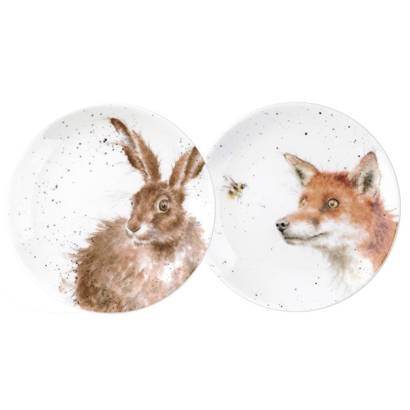 Royal Worcester Wrendale Designs Fox and Hare Tea Plate 16.5cm (Pair)