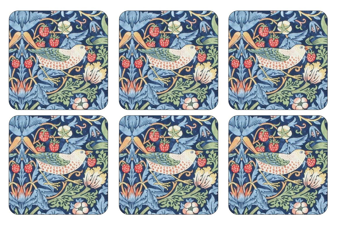 Pimpernel Strawberry Thief Blue Coasters 10.5cm (Set of 6)