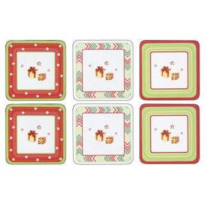 Pimpernel Christmas Jubilee Coasters 10.5cm By 10.5cm (Set Of 6)