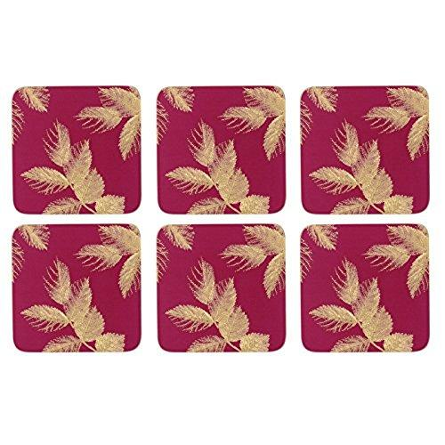 Portmeirion Etched Leaves Pink Coasters 10.5 By 10.5cm (Set Of 6)