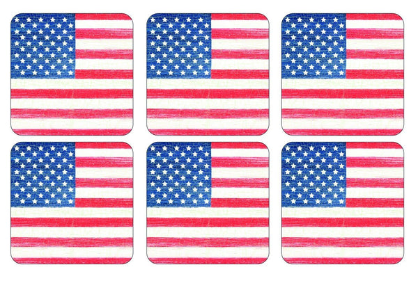 Pimpernel American Flag Coasters 10.5 by 10.5cm (Set of 6)