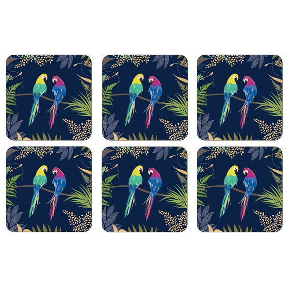 Portmeirion Sara Miller London Parrot Coasters 10.5 by 10.5cm (Set of 6)
