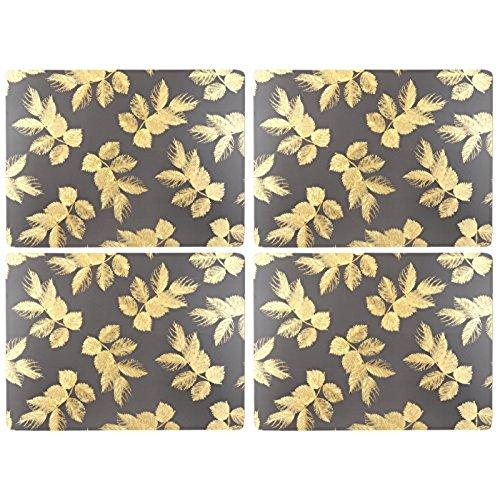 Portmeirion Etched Leaves Dark Grey Placemats 40.1 By 29cm (Set Of 4)