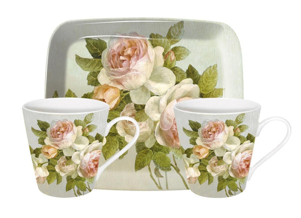 Pimpernel Antique Rose Mugs 0.18L And Tray Set