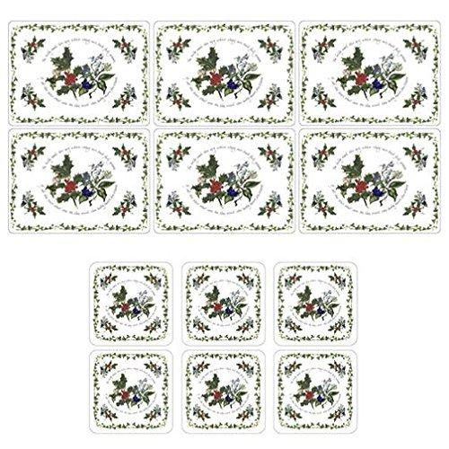 Portmeirion Holly And Ivy Placemats (Set Of 6) And Coasters (Set Of 6)