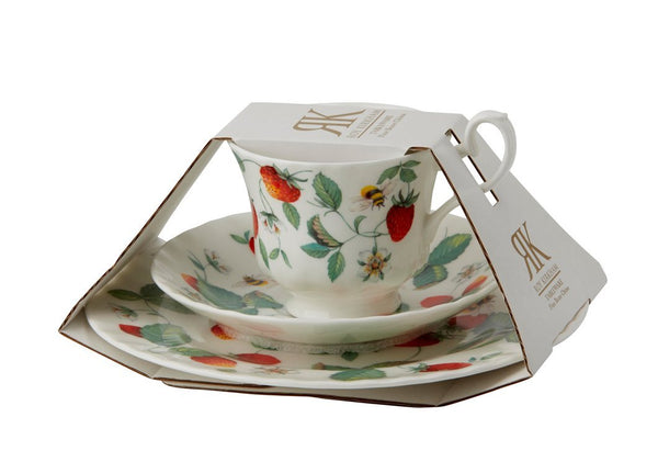 Roy Kirkham Alpine Strawberry Teacup, Saucer and Tea Plate Set