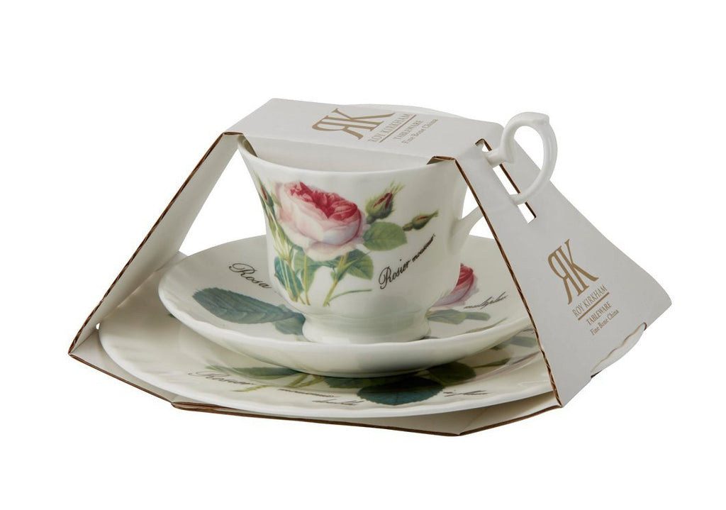 Roy Kirkham Redoute Rose Teacup, Saucer and Tea Plate Set