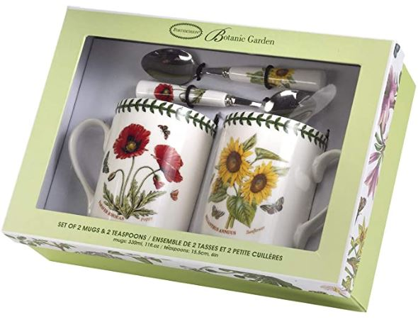 Portmeirion Botanic Garden Mug and Spoon Poppy/Sunflower (Set of 2)