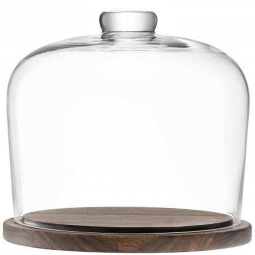 LSA City Cake Dome and Walnut Base 22cm