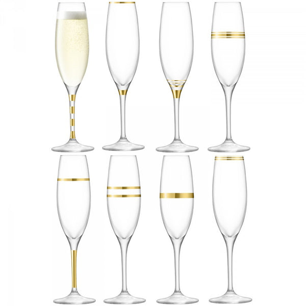 LSA Deco Gold Champagne Flute 0.26L (Set of 8)