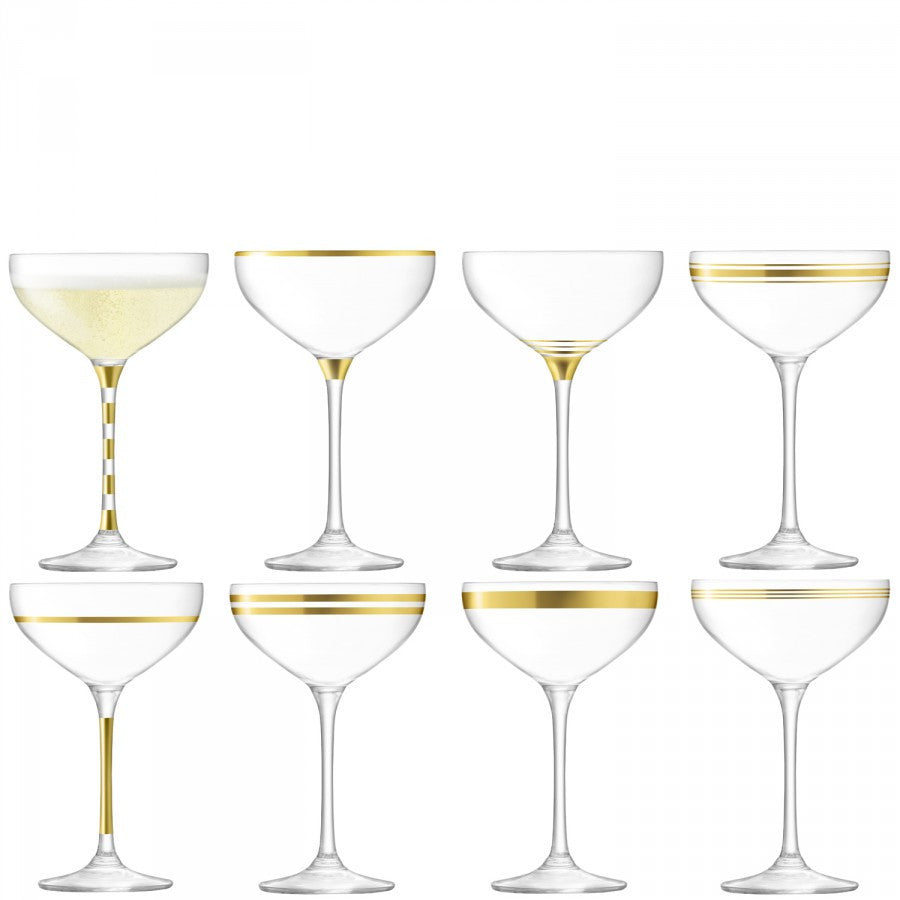 LSA Deco Gold Champagne Saucer 0.24L (Set of 8)