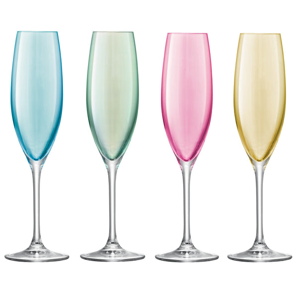LSA Polka Pastel Assorted Champagne Flute 0.23L (Set of 4)