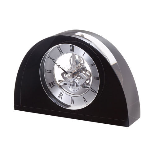 Dartington Crystal Black Half Moon Clock