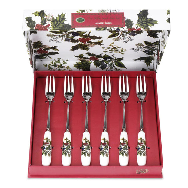 Portmeirion Holly And Ivy Set Of 6 Pastry Forks (HV1102)