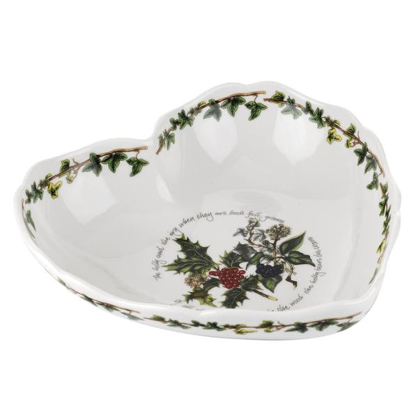 Portmeirion Holly And Ivy Scalloped Heart Serving Dish 20.5cm