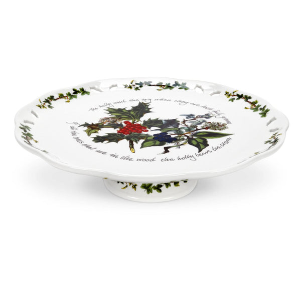 Portmeirion Holly And Ivy Footed Cake Plate 26cm