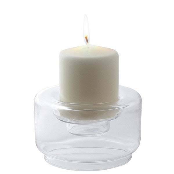 Dartington Crystal Flame Candle Holder Low 7.5cm