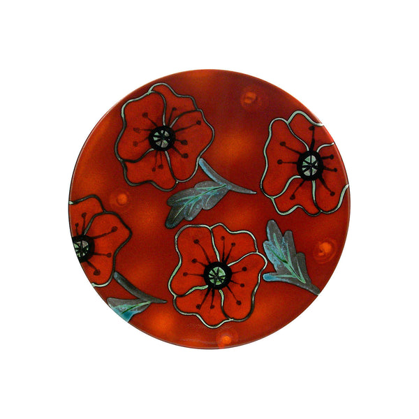 Poole Pottery Poppy Field Plaque 12cm