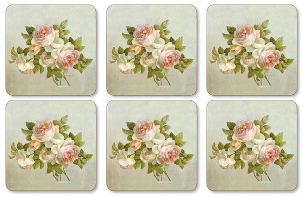 Pimpernel Antique Rose Coasters 10.5cm By 10.5cm (Set Of 6)