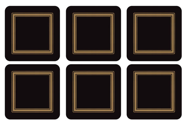 Pimpernel Classic Black Coasters 10.5cm By 10.5cm (Set Of 6)