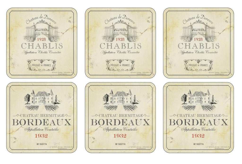 Pimpernel Vin De France Coasters 10.5cm By 10.5cm (Set Of 6)