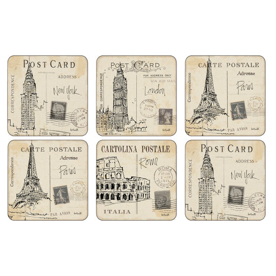 Pimpernel Postcard Sketches Coasters 10.5cm By 10.5cm (Set Of 6)