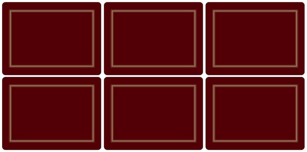 Pimpernel Classic Burgundy Placemats 30.5cm By 23cm (Set Of 6)