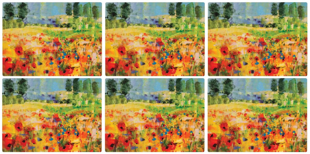 Pimpernel Impressionist Flowers Yellow Placemats 30.5cm By 23cm (Set Of 6)